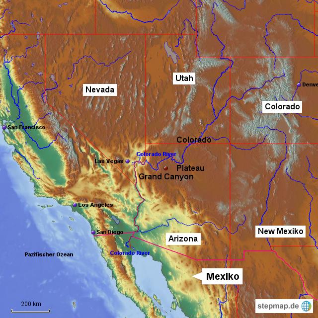Colorado Karte Fluss.Colorado River Von Aweinand Landkarte Fur Nordamerika