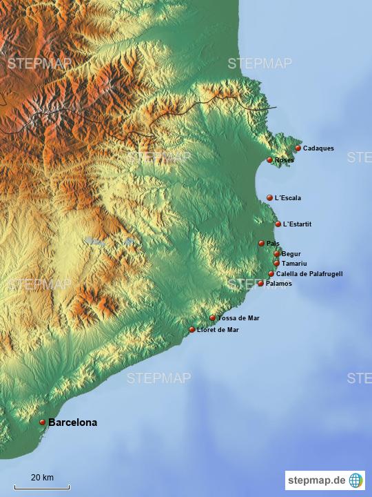 Karte Costa Brava Spanien.Costa Brava Von Sassi58 Landkarte Fur Spanien