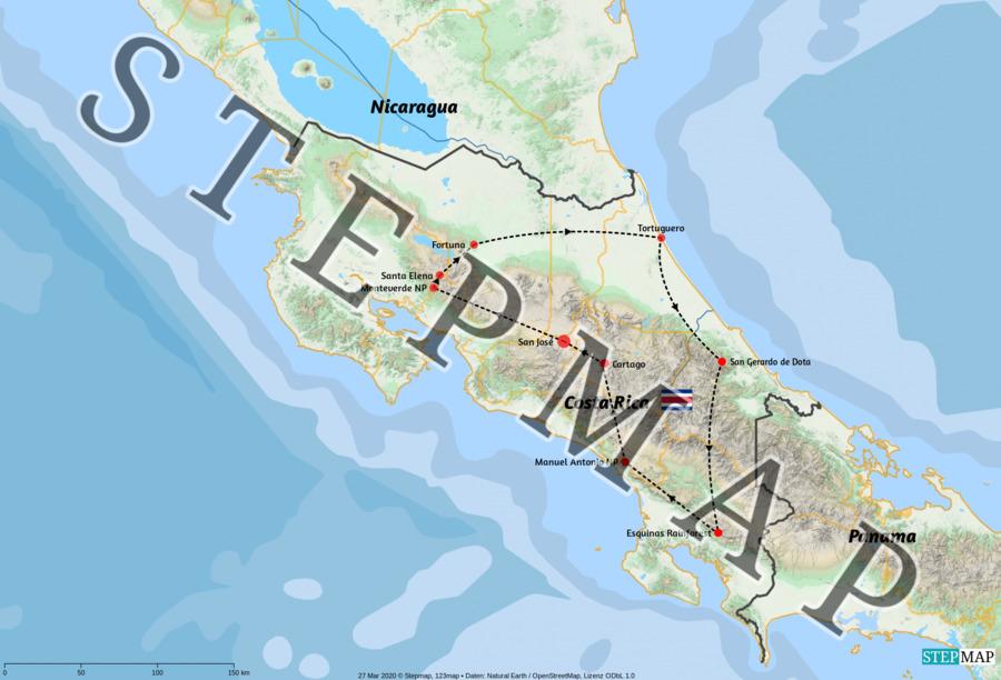 Landkarte: Costa Rica