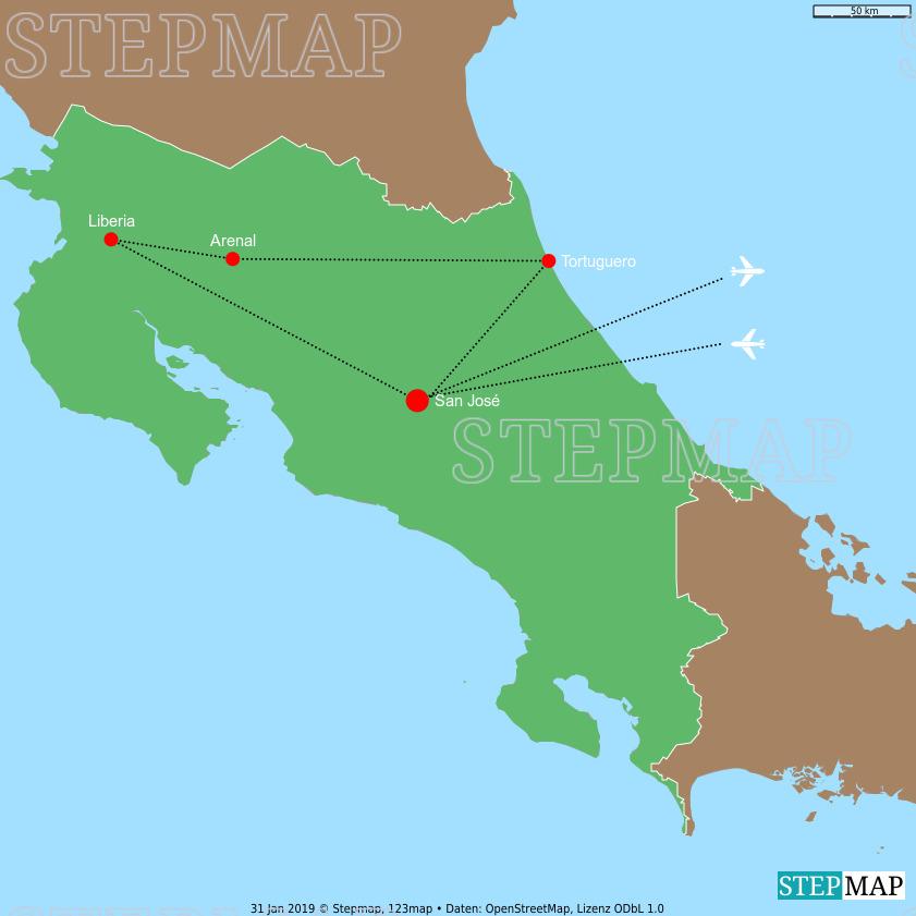 Landkarte: Costa Rica 2019