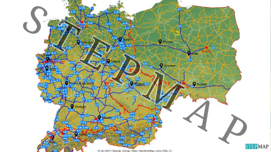 Landkarte: DACH+PL+CZ