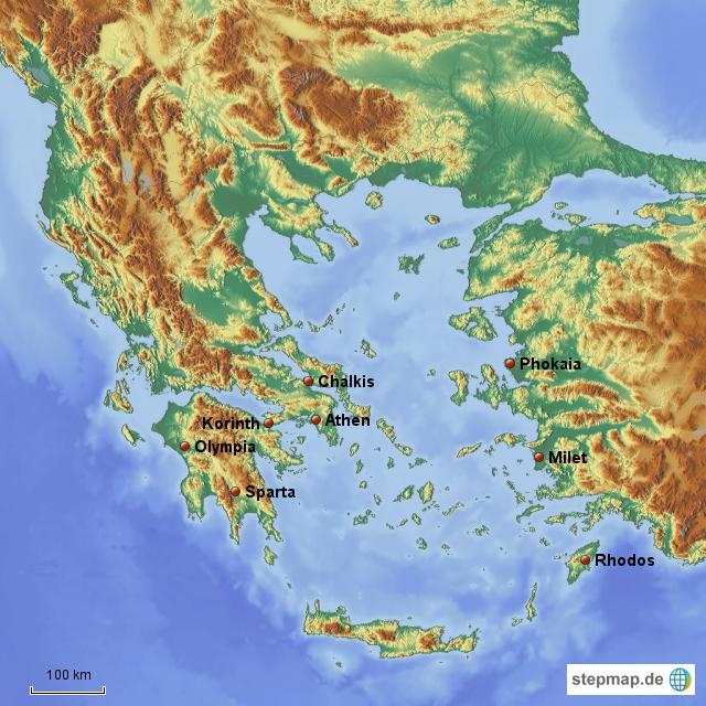 karte antikes griechenland Antikes Griechenland Landkarte | Kleve Landkarte