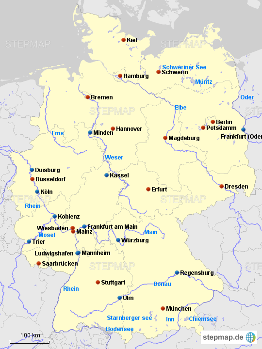 deutschland karte bundesl228nder hauptst228dte fl252sse bilderbay