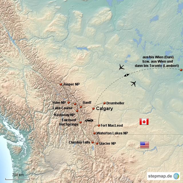 Detailkarte Rocky Mountains von von2reisenden - Landkarte ...