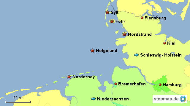 Deutsche Nordseeküste Karte.Stepmap Deutsche Nordseeküste Landkarte Für Deutschland
