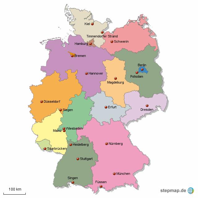 Deutsche Bundesländer mit Hauptstädten von Hees24   Landkarte für