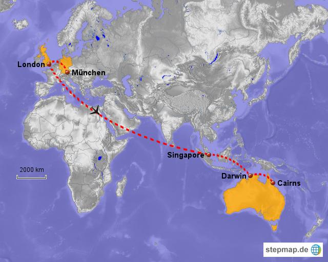 Briefe Von London Nach Deutschland : Deutschland australien flug von wombat landkarte für