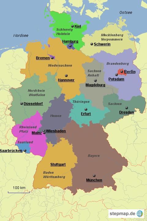 Deutschland Karte Bundesländer Schwarz Weiß.Deutschland Bundesländer Von Ratitz Landkarte Für Deutschland Alle
