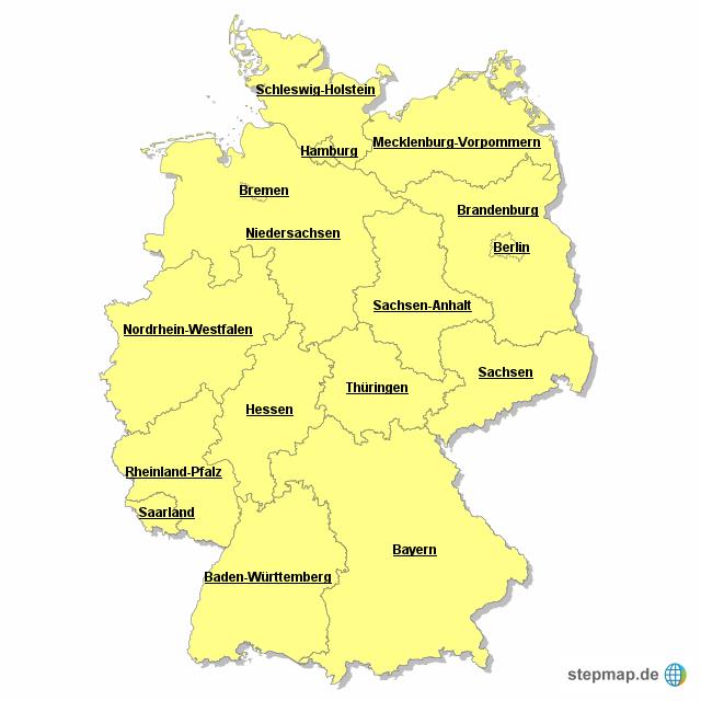 deutschland bundesl nder von hgtorkel landkarte f r deutschland alle bundesl nder. Black Bedroom Furniture Sets. Home Design Ideas