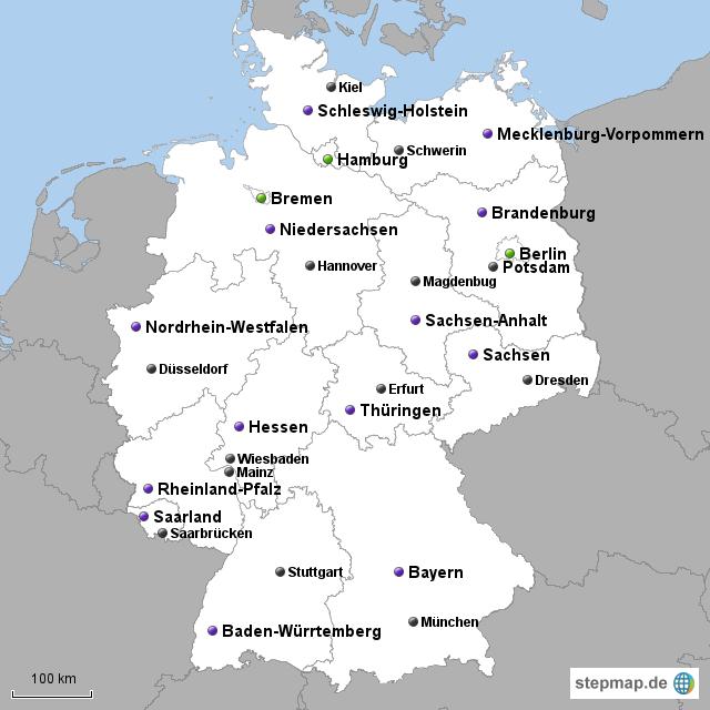 landkarte deutschland bundesl nder mit hauptst dten fli. Black Bedroom Furniture Sets. Home Design Ideas