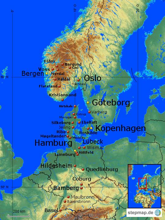 Deutschland Dänemark Norwegen von Maori   Landkarte für Europa