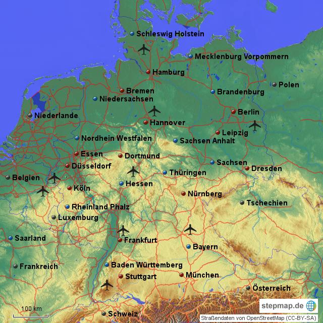 deutschland im berblick von anne23 landkarte f r deutschland alle bundesl nder. Black Bedroom Furniture Sets. Home Design Ideas
