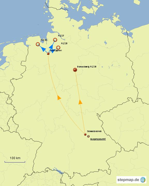 deutschland mit norden von f decker landkarte f r. Black Bedroom Furniture Sets. Home Design Ideas
