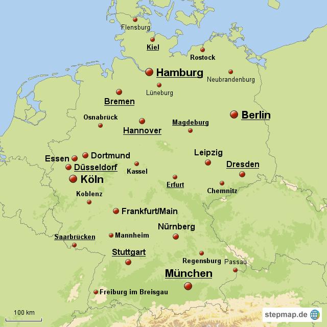 deutschland mit st dten von maxi76 landkarte f r deutschland. Black Bedroom Furniture Sets. Home Design Ideas
