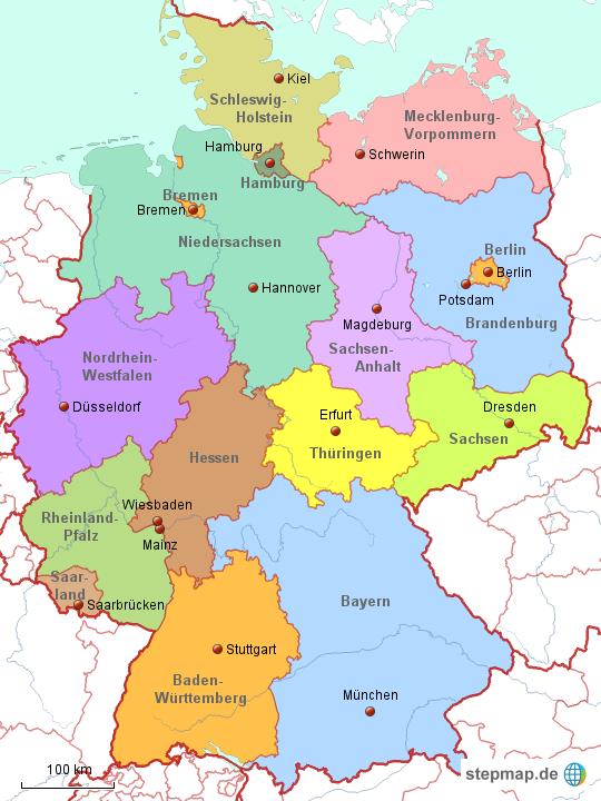 deutschland politisch von kruschesh landkarte f r deutschland alle bundesl nder. Black Bedroom Furniture Sets. Home Design Ideas