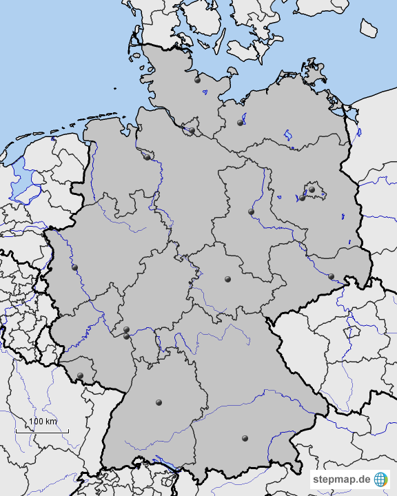 deutschland stumme karte bundesl nder fl sse nachbarl nder von freuleinsche landkarte f r. Black Bedroom Furniture Sets. Home Design Ideas