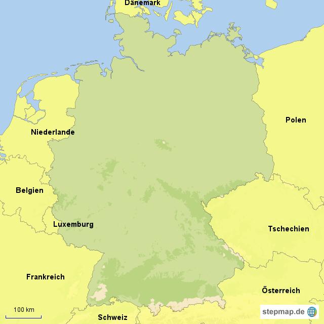 deutschland und nachbarl nder von mapaul landkarte f r. Black Bedroom Furniture Sets. Home Design Ideas