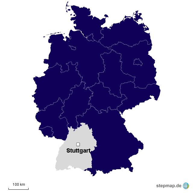 deutschlandkarte baden w rttemberg von pseminar landkarte f r deutschland. Black Bedroom Furniture Sets. Home Design Ideas