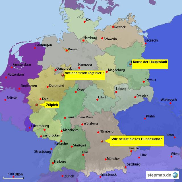 Deutschlandkarte mit Bundesländern von Stephanusschule ...