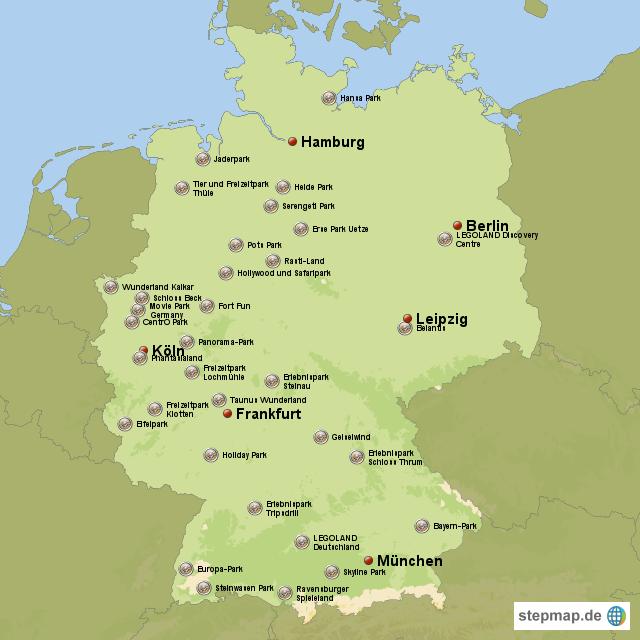 freizeitpark deutschland karte Deutschlands Freizeitparks von AlexanderD   Landkarte für Deutschland