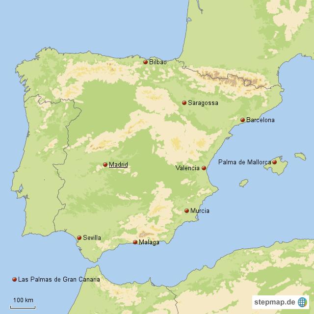 die 10 gr ten st dte spaniens von maxi76 landkarte f r spanien. Black Bedroom Furniture Sets. Home Design Ideas