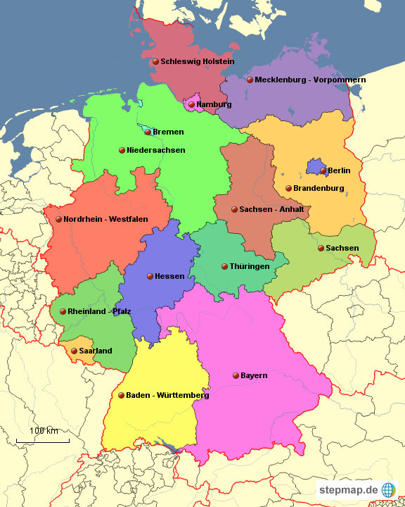 karte 16 bundesländer StepMap   die 16 Bundesländer   Landkarte für Deutschland