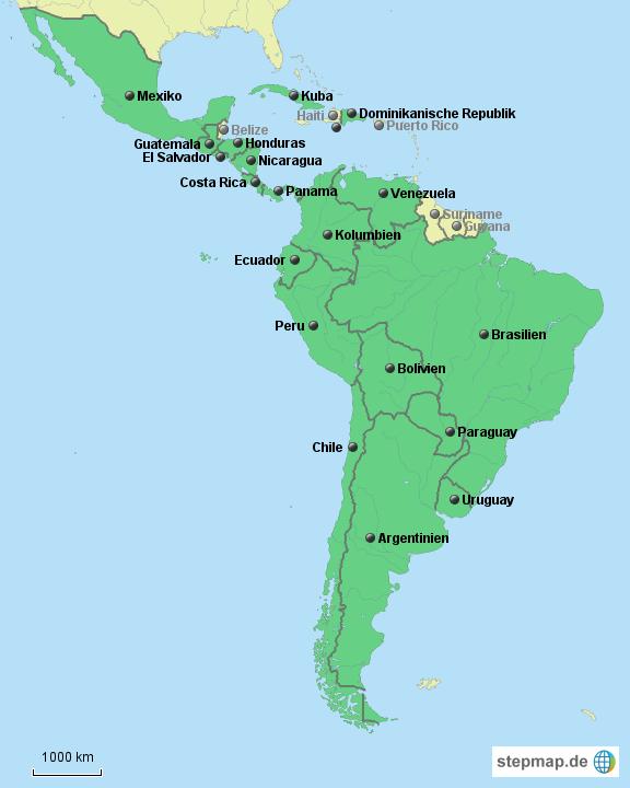 Südamerika Karte Länder.Die 19 Länder Lateinamerikas Ohne Karibik Von Iklein Landkarte