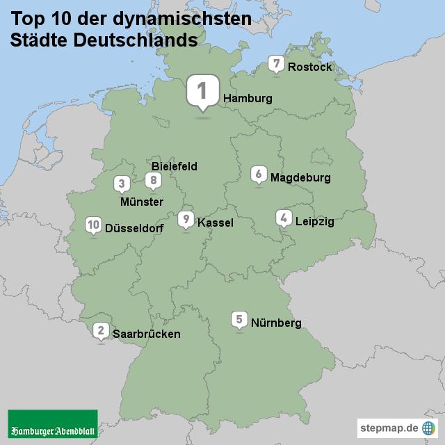 die 50 dynamischsten st dte in deutschland von abendblatt landkarte f r deutschland alle. Black Bedroom Furniture Sets. Home Design Ideas