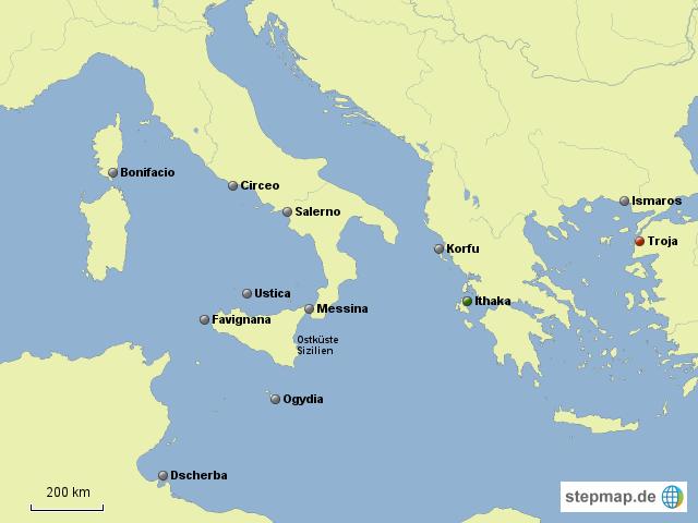 odysseus irrfahrten karte