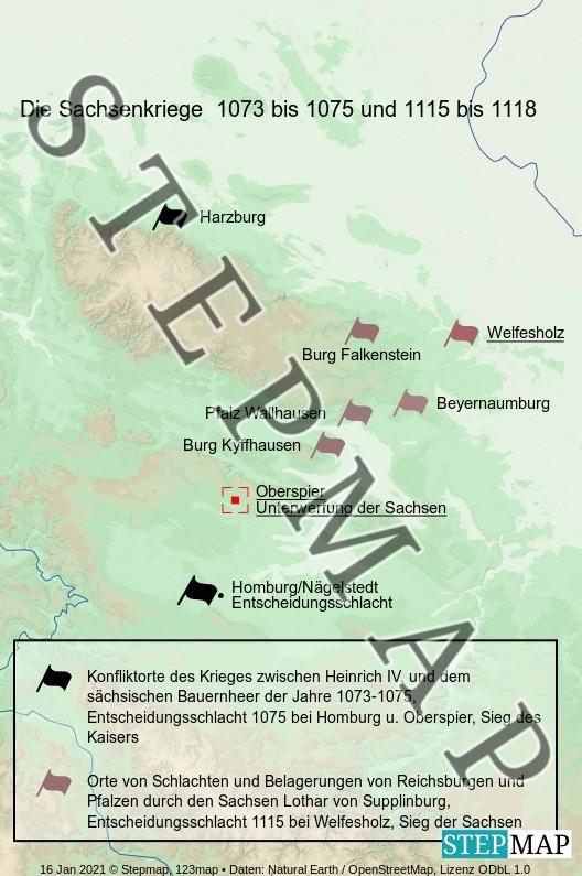 Landkarte: Die Sachsenkriege unter Heinrich IV. und Heinrich V.