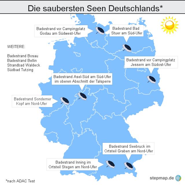 landkarte deutschland mit seen Die saubersten Seen Deutschlands von saarbruecker   Landkarte für