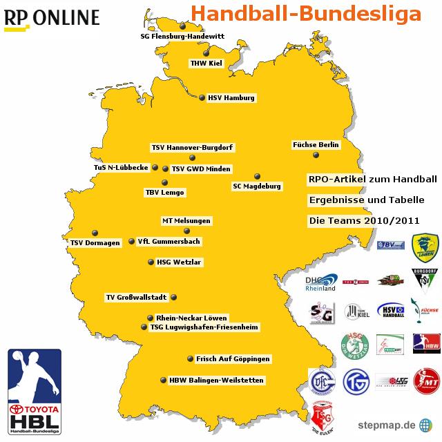 Die teams der handball bundesliga 10 11 von rponline for Tabelle von bundesliga