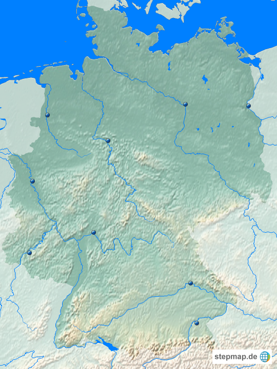 die wichtigsten 9 fl sse deutschlands unbeschriftet von bababu landkarte f r deutschland. Black Bedroom Furniture Sets. Home Design Ideas
