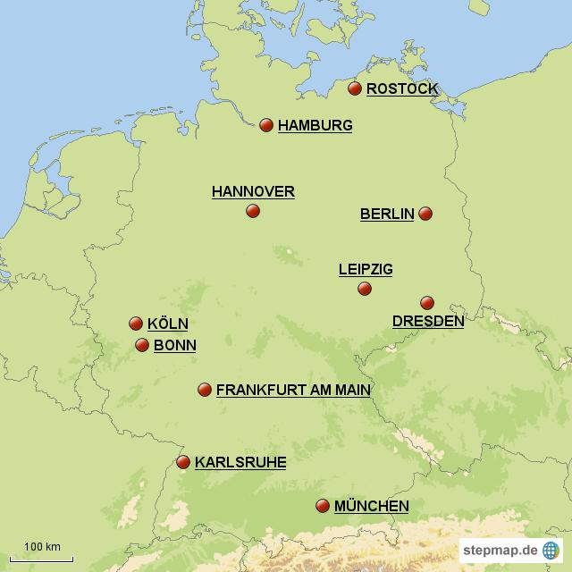die wichtigsten st dte deutschlands von maxi76 landkarte. Black Bedroom Furniture Sets. Home Design Ideas