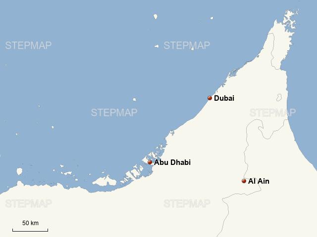 Dubai - Abu Dhabi von thvmap - Landkarte für Deutschland