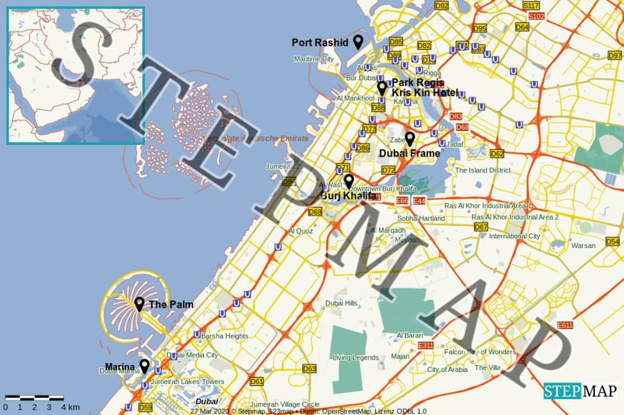Landkarte: Dubai Stadtplan