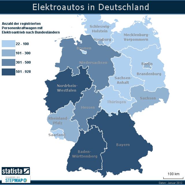 elektroautos in deutschland von statista landkarte f r deutschland. Black Bedroom Furniture Sets. Home Design Ideas