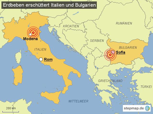 erdbeben italien 2012 karte Erdbeben in Bulgarien und Italien von onlinedesk   Landkarte für