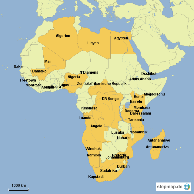 Afrika afrika karten erdkunde test nr 1 länder und städte afrikas