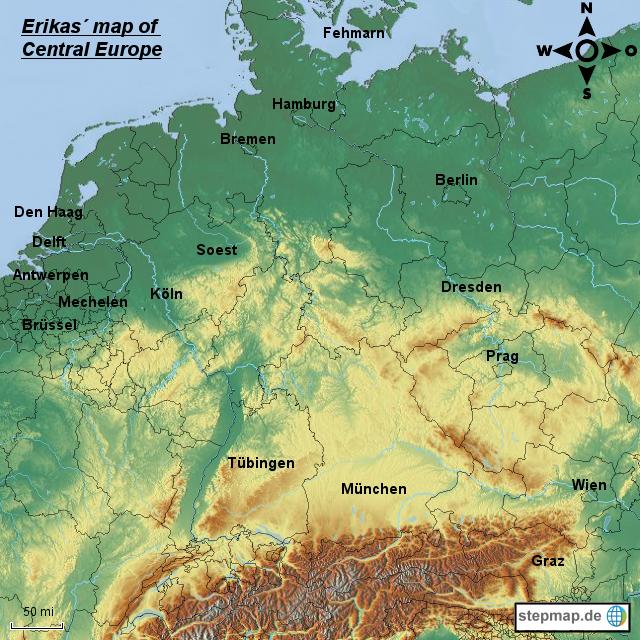 Erikas map of Central Europe von mima90wolter - Landkarte für ...
