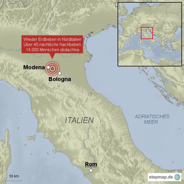 modena landkarte italien Erneut Erdbeben in Italien von EXPRESS   Landkarte für Italien