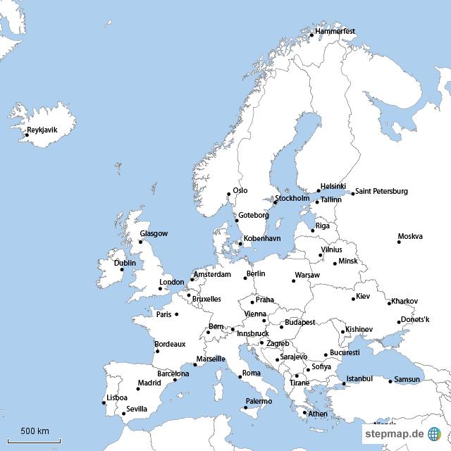 europa von bekkus landkarte f r europa. Black Bedroom Furniture Sets. Home Design Ideas