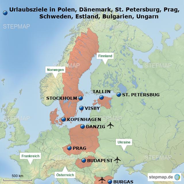 Prag Karte Europa.Europa 6 Polen Dänemark Prag Schweden Estland St Petersburg