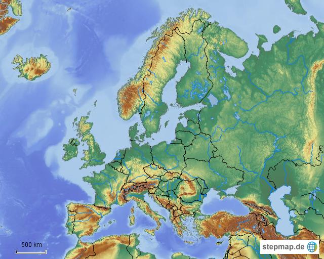 europa fl sse und gebirge ohne beschriftung von wv1964 landkarte f r deutschland. Black Bedroom Furniture Sets. Home Design Ideas