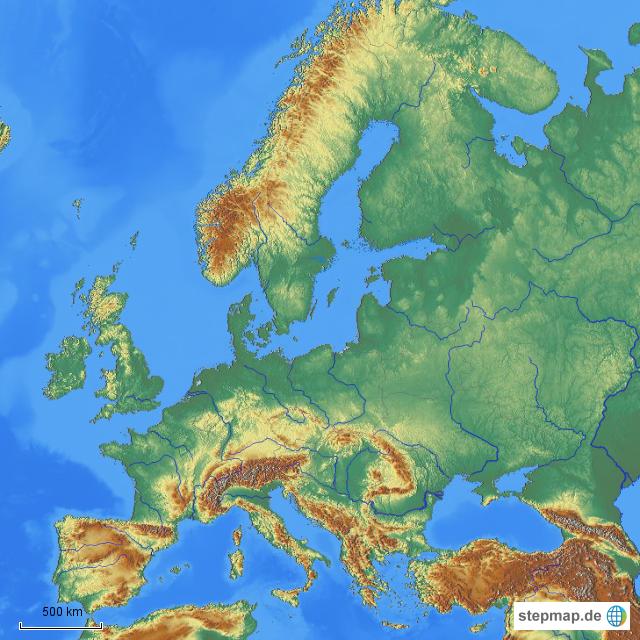 gebirge europa karte Karte Europa Flüsse Gebirge | Kleve Landkarte