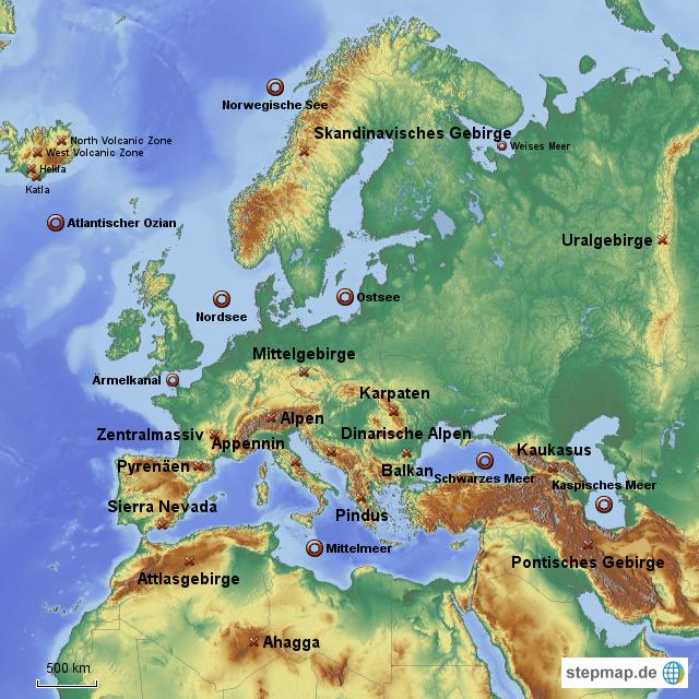 europa gebirge und meere lz von schulerelli landkarte f r deutschland. Black Bedroom Furniture Sets. Home Design Ideas
