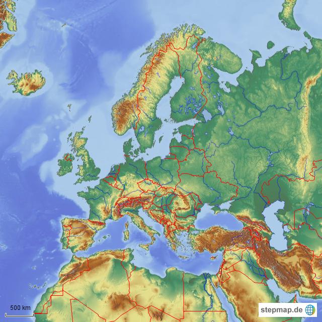 Europa Karte Physisch.Europa Physisch Von Hf Landkarte Für Deutschland