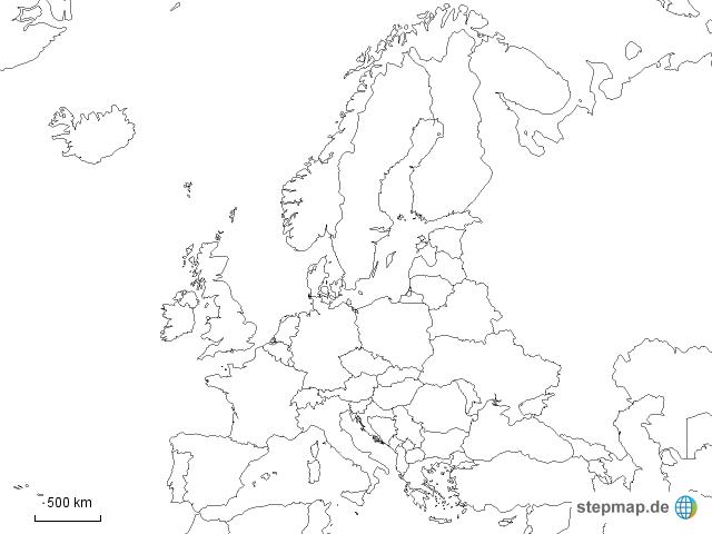 europa schwarz wei von sohoo landkarte f r europa. Black Bedroom Furniture Sets. Home Design Ideas