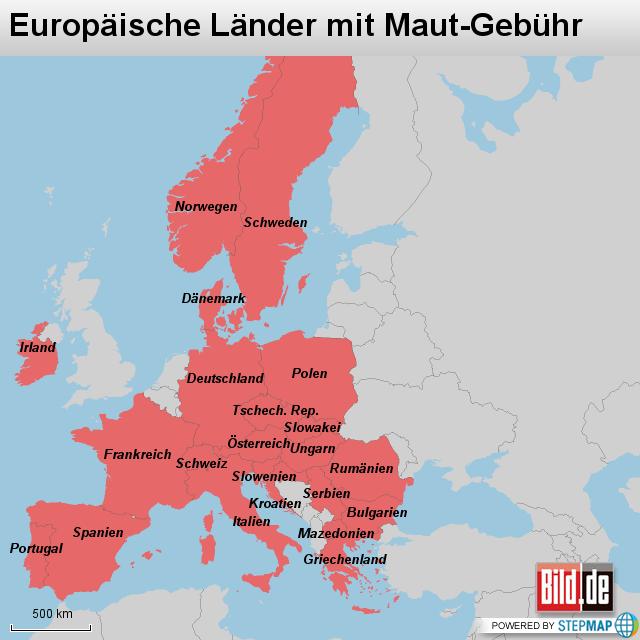 europ228ische l228nder mit maut geb252hr von bildde landkarte