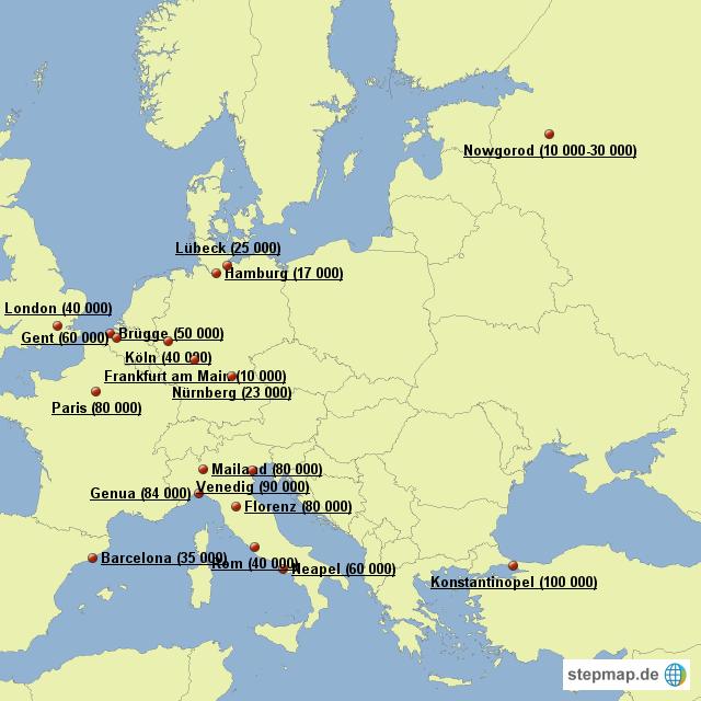 europ ische st dte um 1300 von amrollbia landkarte f r europa. Black Bedroom Furniture Sets. Home Design Ideas